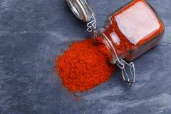 Powder seasoning spice paprika on a black stone Stock Images