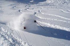Powder skiing. Skier in fresh Utah powder Stock Photos