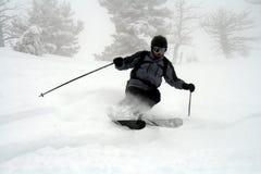 Powder skiing. Skier in fresh Utah powder Stock Photo
