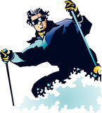 Powder skiing Royalty Free Stock Image