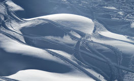 Powder snow and ski trails. ST gervais, French alps, France Royalty Free Stock Image