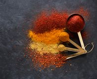 Free Powder Spices And Herbs In Measuring Spoons Stock Image - 123731221
