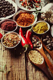 Powder spices in metal bowls Stock Photo