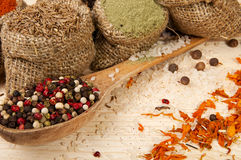 Powder spices on spoon and in pouches on a wooden table background. Different spices on a wooden surface Stock Images