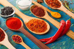 Powder spices on spoons Royalty Free Stock Image