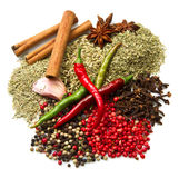 Powder spices  in white table background Stock Photos
