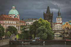 Powder Tower on the background of the severe storm clouds, Prague, Czech Republic. Eastern Europe Stock Images