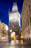 Powder tower (gate) at evening in Prague, Czech Republic Stock Image