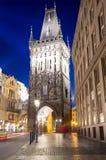Powder tower (gate) at evening in Prague, Czech Republic Stock Image