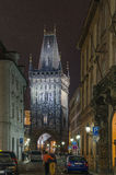 Powder tower(gate) at evening in Prague Stock Photo