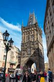 The Powder Tower or Powder Gate a gothic tower ithat used to be one of the original city gates and separates the old town from the. PRAGUE, CZECH REPUBLIC royalty free stock photography