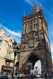 The Powder Tower or Powder Gate a gothic tower ithat used to be one of the original city gates and separates the old town from the. PRAGUE, CZECH REPUBLIC royalty free stock image