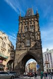 The Powder Tower or Powder Gate a gothic tower ithat used to be one of the original city gates and separates the old town from the. PRAGUE, CZECH REPUBLIC stock photography