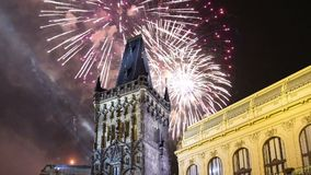 Powder tower gate and holiday fireworks in Prague,Czech Republic. stock video
