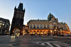 Powder Tower and Municipal House, Prague Stock Photos