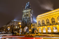 Powder Tower and Municipal House in Prague at Night Stock Photos
