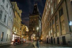 Powder Tower at night in Prague, Czech Republic Stock Photo