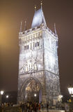 Powder Tower or Powder Gate --is a Gothic tower in Prague, Czech Republic (Night view) Royalty Free Stock Photos