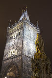 Powder Tower or Powder Gate --is a Gothic tower in Prague, Czech Republic (Night view) Stock Photography