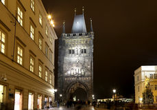 Powder Tower or Powder Gate --is a Gothic tower in Prague, Czech Republic (Night view) Royalty Free Stock Photo