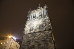 Powder Tower or Powder Gate --is a Gothic tower in Prague, Czech Republic (Night view) Stock Image