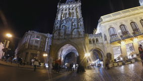 Powder tower in Prague stock footage