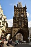 Powder tower Prague. Powder tower or Powder Gate in Prague separates the Old town from New Town Royalty Free Stock Photo