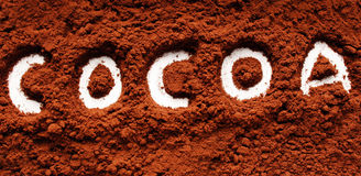 Powder written cocoa Royalty Free Stock Photo