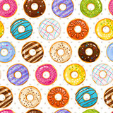 Powdered donut dessert background. Donuts and little love hearts seamless pattern Royalty Free Stock Images