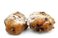 Powdered Dutch oliebollen Stock Photo