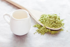 Powdered green tea ingredient and fresh milk Royalty Free Stock Photography