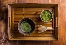 Powdered green tea. Japanese traditional tea set with powdered green tea Stock Image