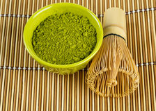 Powdered green tea Matcha and bamboo whisk Stock Image