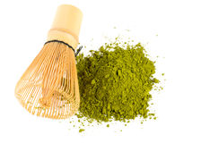 Powdered green tea Matcha and bamboo whisk Royalty Free Stock Photography