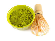 Powdered green tea Matcha and bamboo whisk Stock Photography