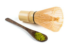Powdered green tea Matcha and bamboo whisk Royalty Free Stock Image