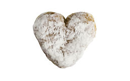Powdered Heart Shaped Donut. A powdered heart shaped donut  on a white background Stock Photos