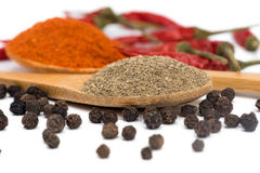Powdered pepper red and black Royalty Free Stock Photos