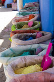 Powdered pigments in sacks. For sale in blue town chefchaouen, morocco Royalty Free Stock Images