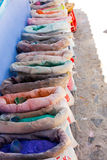 Powdered pigments in sacks. For sale in blue town chefchaouen, morocco Stock Images