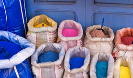 Powdered pigments in sacks. For sale in blue town chefchaouen, morocco Stock Photo