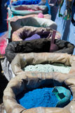 Powdered pigments in sacks. For sale in blue town chefchaouen, morocco Royalty Free Stock Image