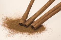 Powdered and raw cinnamon royalty free stock photo
