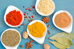 Powdered spices on blue  table close up Royalty Free Stock Image