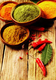 Powdered Spices with Cayenne Pepper on Table Stock Photos