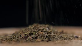 Powdered spices close up on wooden table stock video