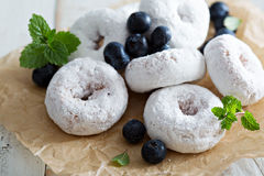 Powdered sugar donuts on parchment Stock Images