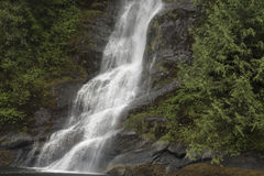 Poweful Waterfall. A powerful waterfall cascading down the side of a mountain in a rain forest Royalty Free Stock Photos