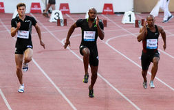 POWELL Asafa (JAM). Win the 100m in 9.78 sec, best performance of the year, Frater (JAM) second in 9.88 sec and Lemaitre (FRA) third in 9.95 french record stock photo