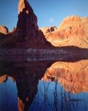 powell för sida för arizona lakemoonrise Fotografering för Bildbyråer